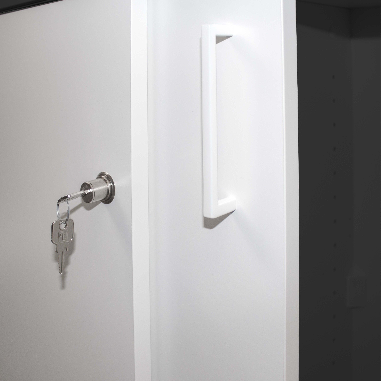 PROFI Aktenschrank abschließbar 5OH Weiß-Anthrazit Schrank Büroschrank Schiebetürenschrank