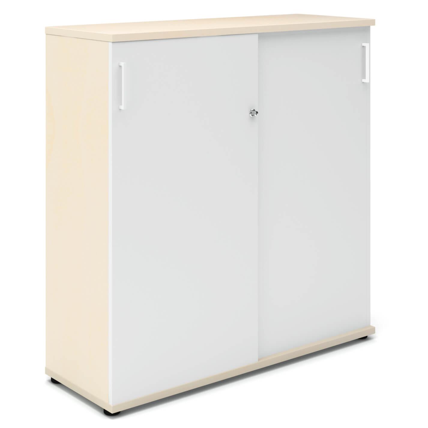 UNI Aktenschrank 1,2M abschließbar 3OH Weiß-Ahorn Büroschrank Schiebetürenschrank