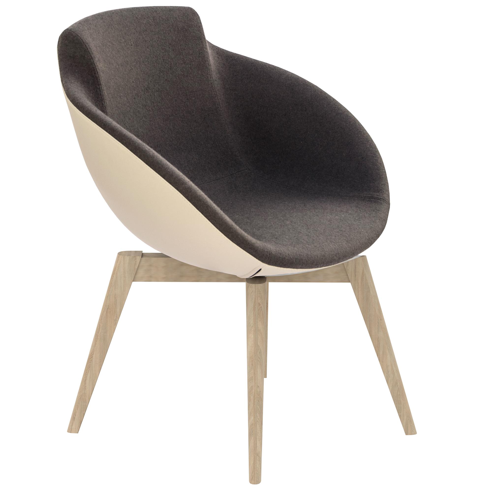 Loungesessel TULA mit Holzgestell in Kunstleder Sessel Stuhl Hocker