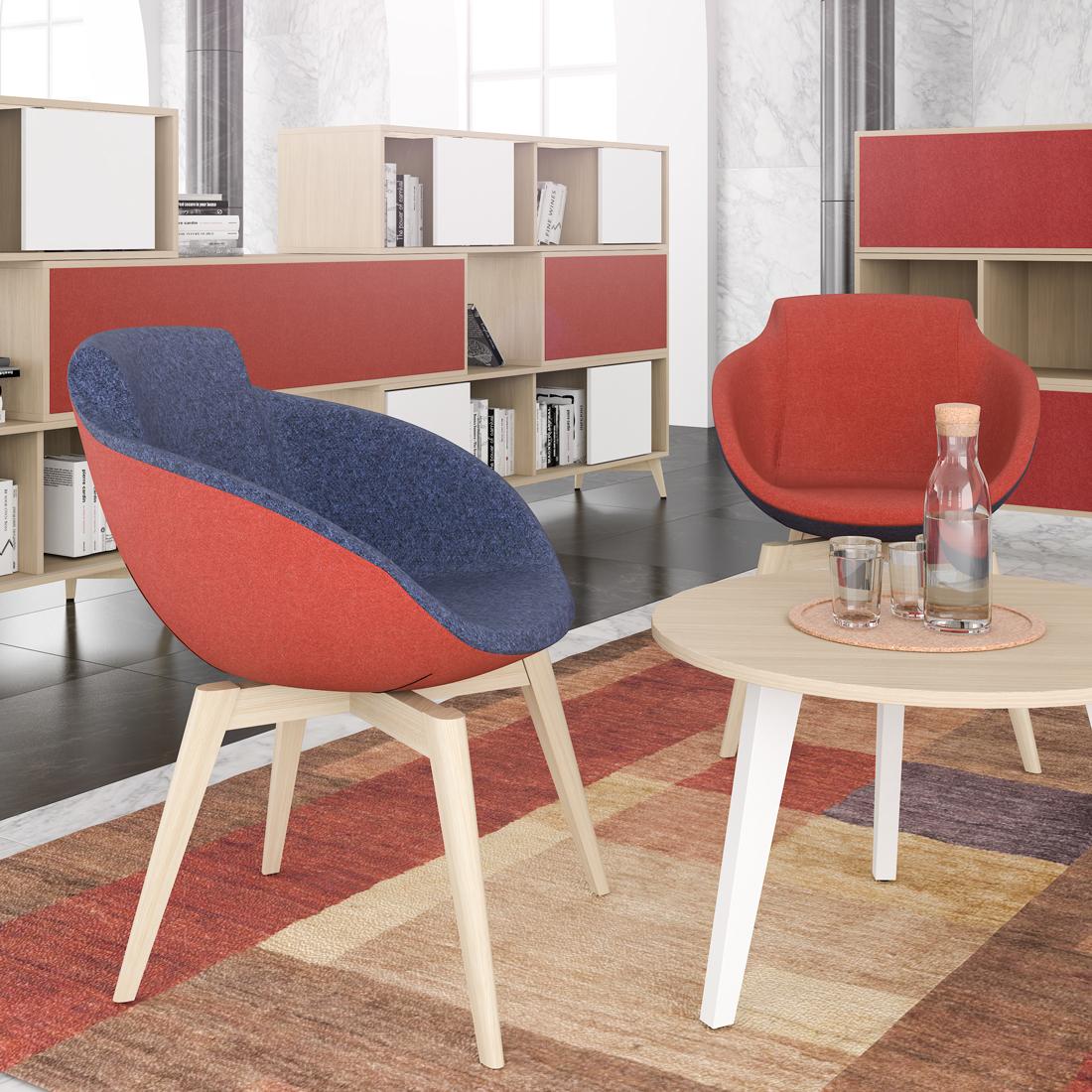 Loungesessel TULA mit Holzgestell mit Wollbezug Sessel Stuhl Hocker