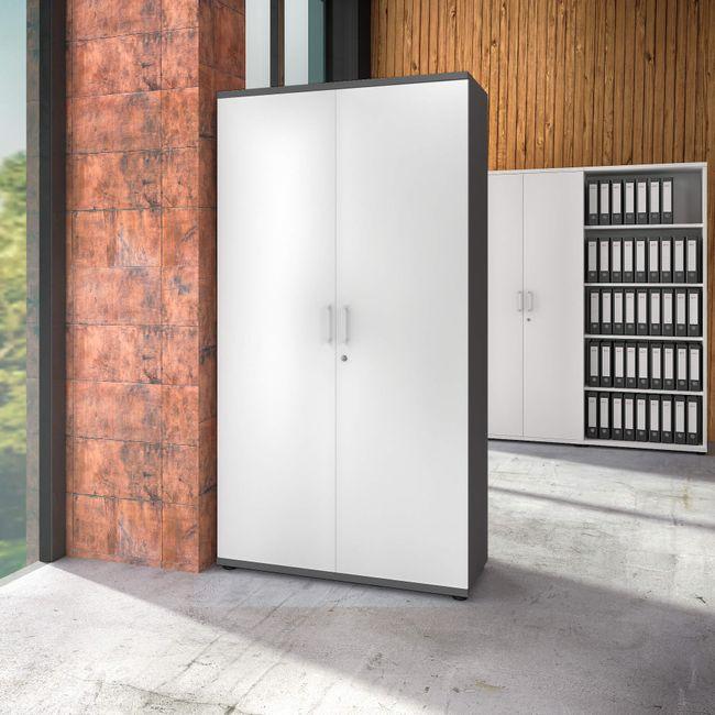 UNI Aktenschrank abschließbar 5 OH Weiß-Anthrazit Schrank Büroschrank Flügeltürenschrank