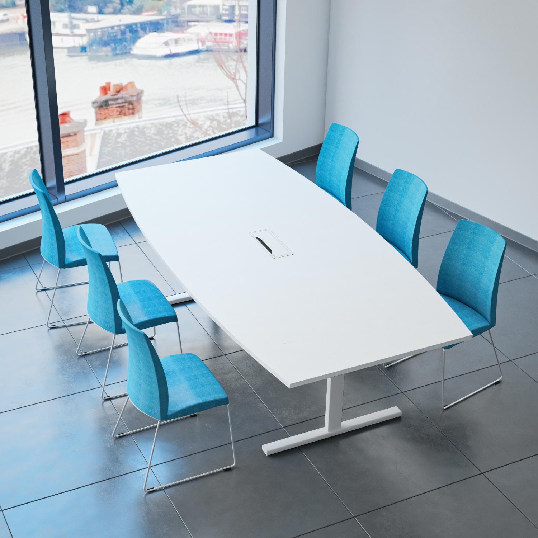 EASY Konferenztisch Bootsform 240x120 cm Weiß mit Elektrifizierung Besprechungstisch Tisch