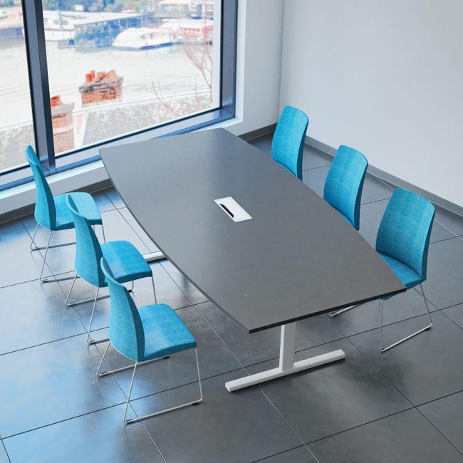 EASY Konferenztisch Bootsform 240x120 cm Anthrazit mit Elektrifizierung Besprechungstisch Tisch