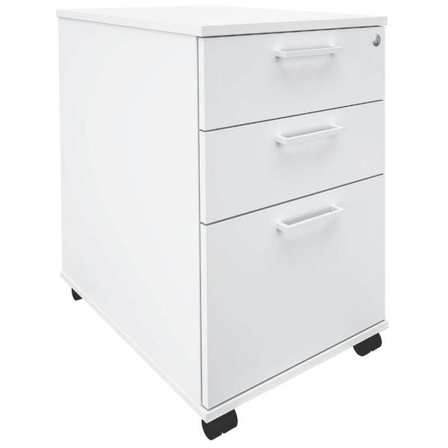 OPTIMA Rollcontainer m. Hängeregister 60cm tief weiß Rollschrank Büro Container