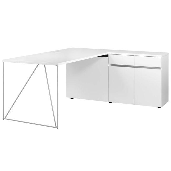Schreibtisch AIR mit integriertem Sideboard rechts 1600 x 1600 mm Weiß – Bild 17