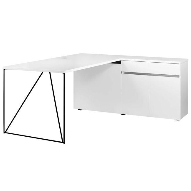Schreibtisch AIR mit integriertem Sideboard rechts 1600 x 1600 mm Weiß – Bild 23