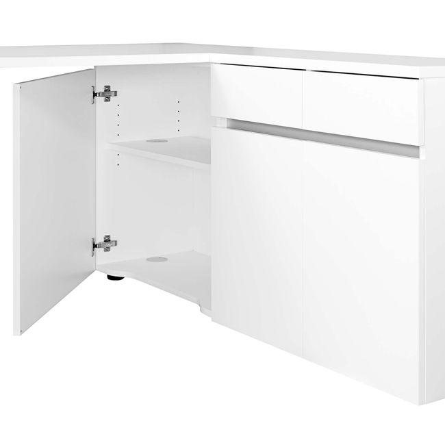 AIR Schreibtisch | Sideboard rechts, 1600 x 1600 mm, Weiß