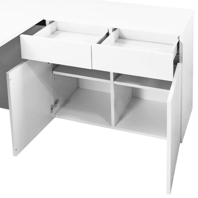 Schreibtisch AIR mit integriertem Sideboard rechts 1600 x 1600 mm Weiß – Bild 8
