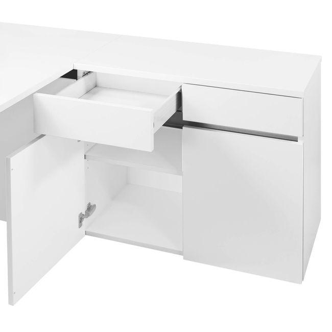 Schreibtisch AIR mit integriertem Sideboard rechts 1600 x 1600 mm Weiß – Bild 9
