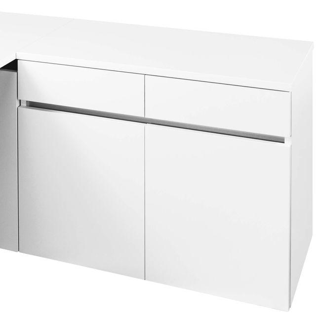 Schreibtisch AIR mit integriertem Sideboard rechts 1600 x 1600 mm Weiß – Bild 10
