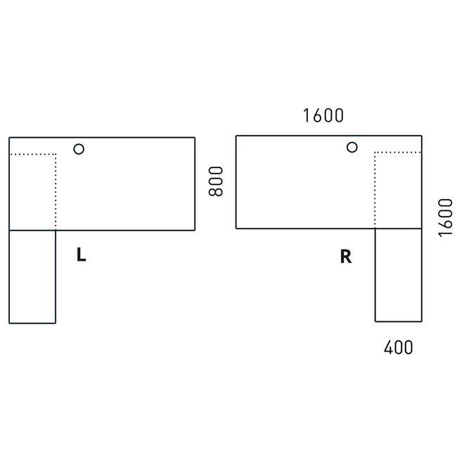 Schreibtisch AIR mit integriertem Sideboard rechts 1600 x 1600 mm Weiß – Bild 11