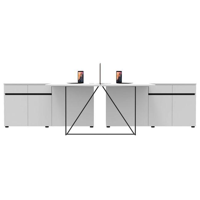 AIR Gruppenarbeitsplatz mit Sideboards   1600 x 3200 mm, Weiß