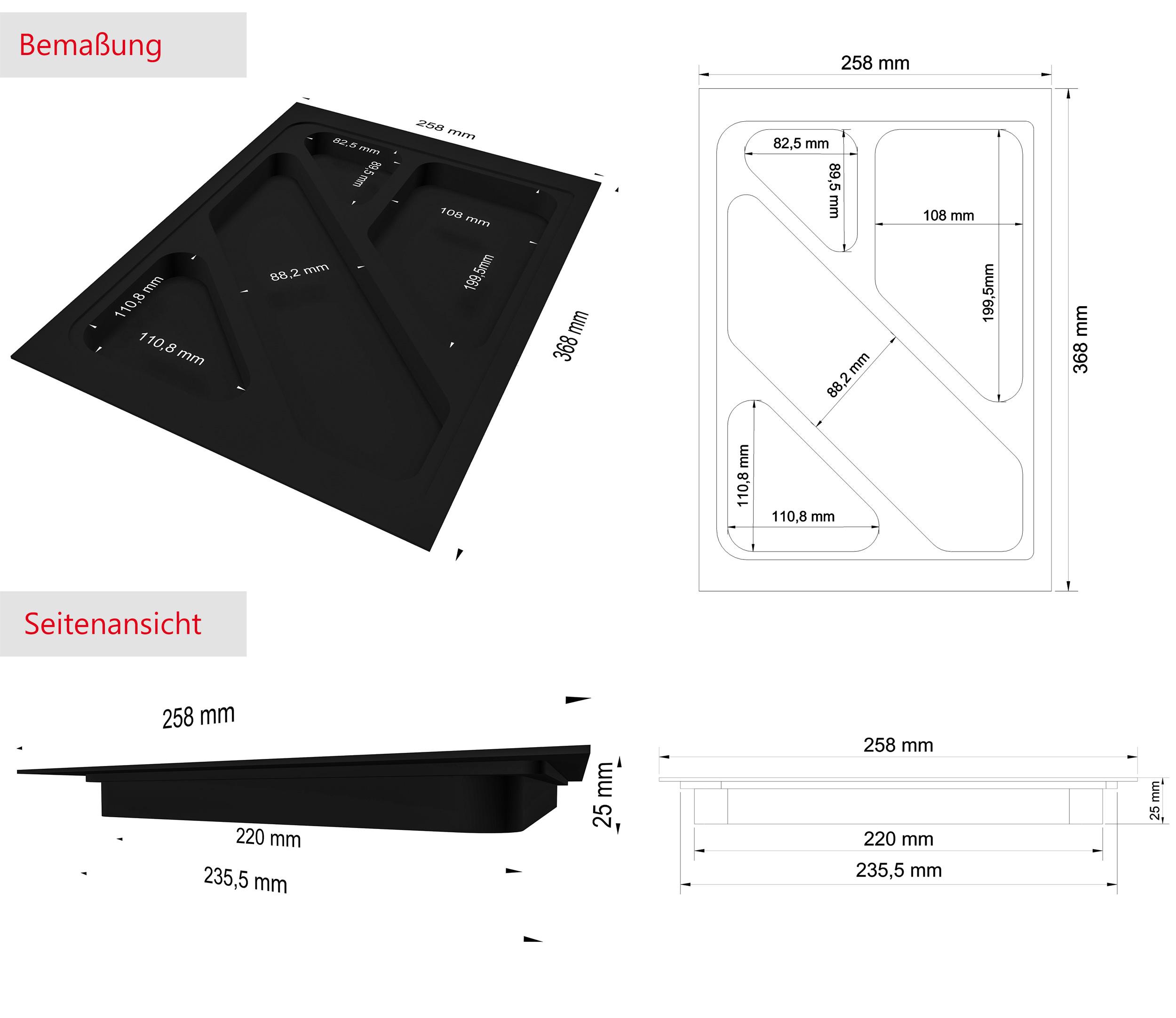 Schubladen Einsatz, Materialschale & Stifte-Organisator in schwarz