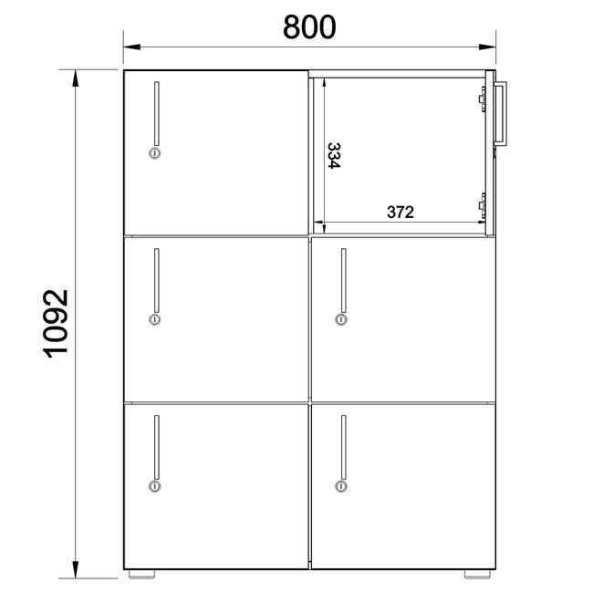 Spind | Schließfach NOVA mit 6 Schließfächern, (BxH) 800 x 1.092 mm, Ahorn – Bild 4