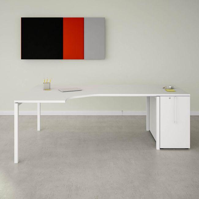 NOVA Winkelkombination | Mit Apothekerschrank, Winkel links, 2200 x 1200 mm, Weiß
