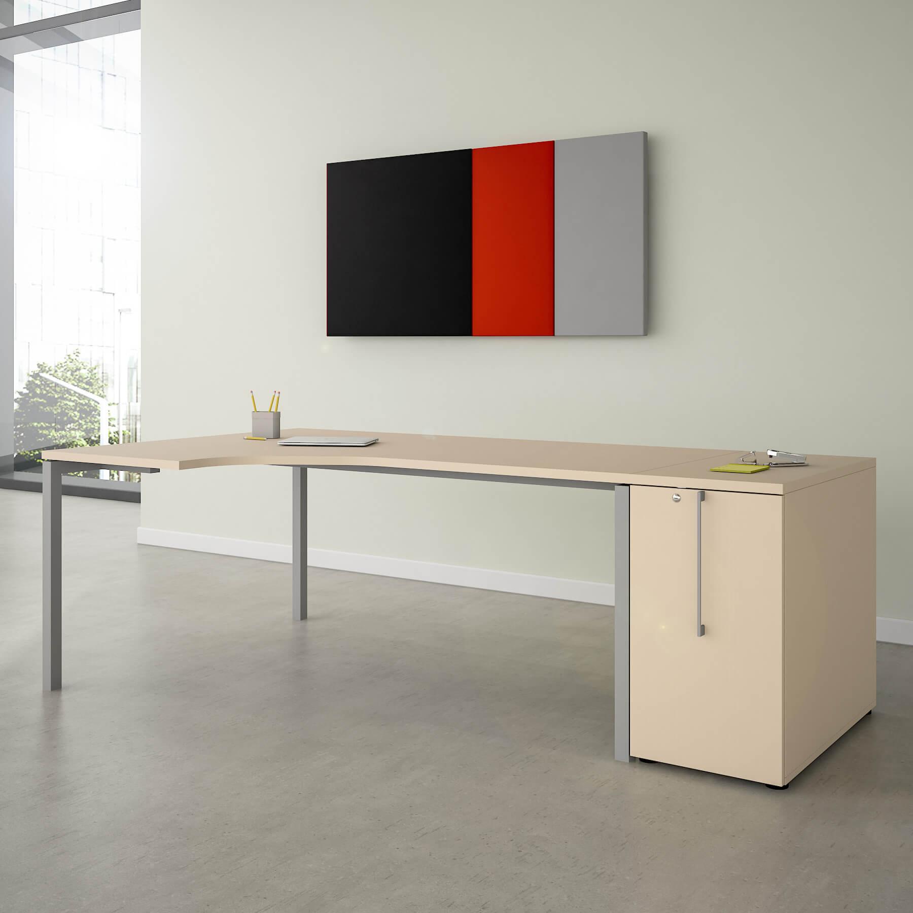 Winkelschreibtisch mit Apothekerschrank BOXI XL 220x120cm Ahorn Eck-Schreibtisch