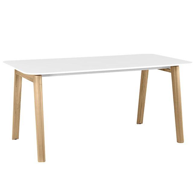 NOVA WOOD Schreibtisch | Massivholz-Gestell, 1800 x 800 mm, HPL Weiß