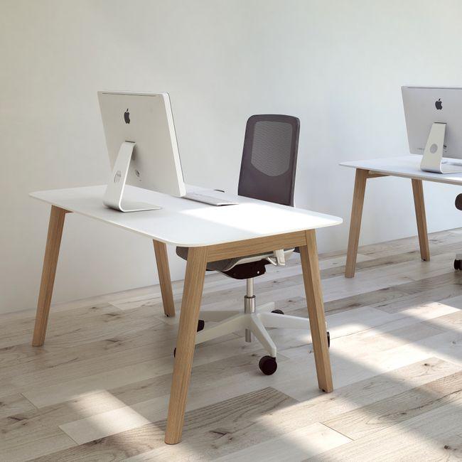 Schreibtisch NOVA Wood HPL 1.800 x 800 mm Weiß mit Holzgestell Skandi Design  – Bild 2