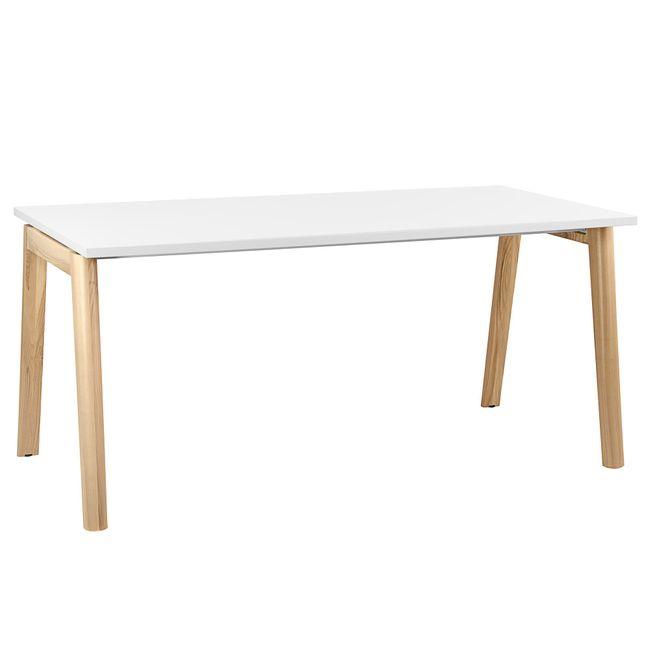 NOVA WOOD Schreibtisch | Massivholz-Gestell, 1800 x 800 mm, Weiß