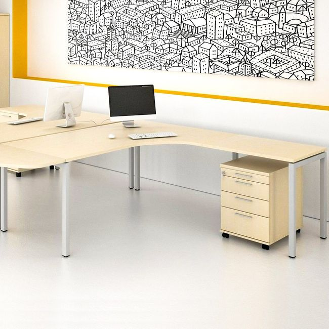 NOVA Winkelkombination | Mit Rollcontainer, Winkel rechts, 1800 x 2000 mm, Ahorn