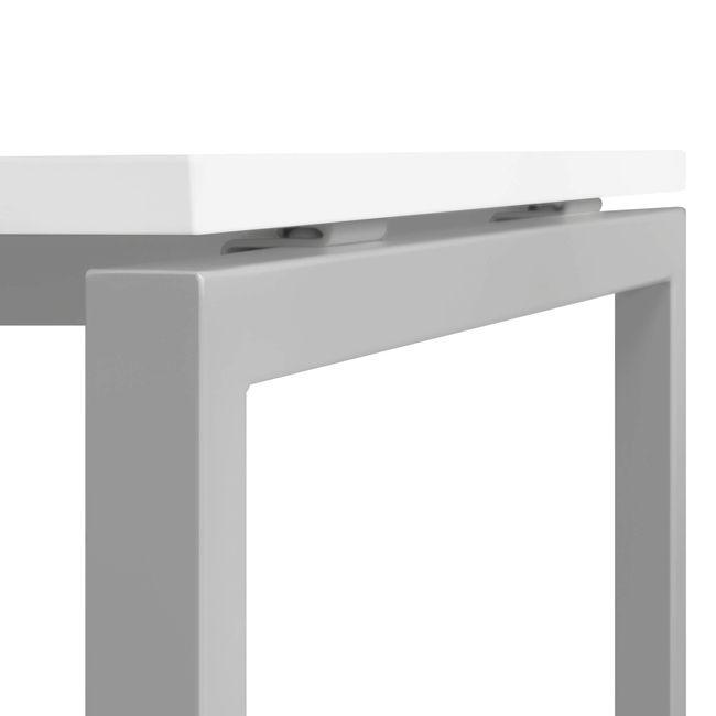 Besprechungstisch NOVA U quadratisch 800 mm Weiß, Gestell Silber – Bild 3