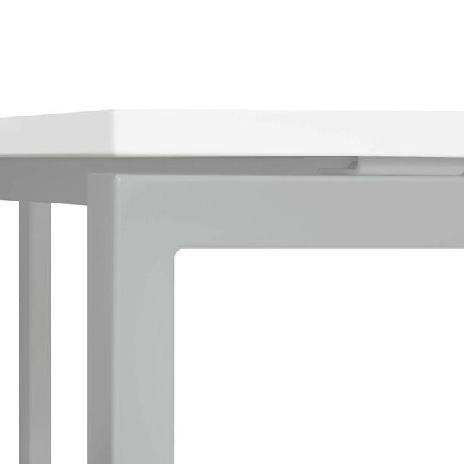 Besprechungstisch NOVA U quadratisch 800 mm Weiß, Gestell Silber – Bild 4