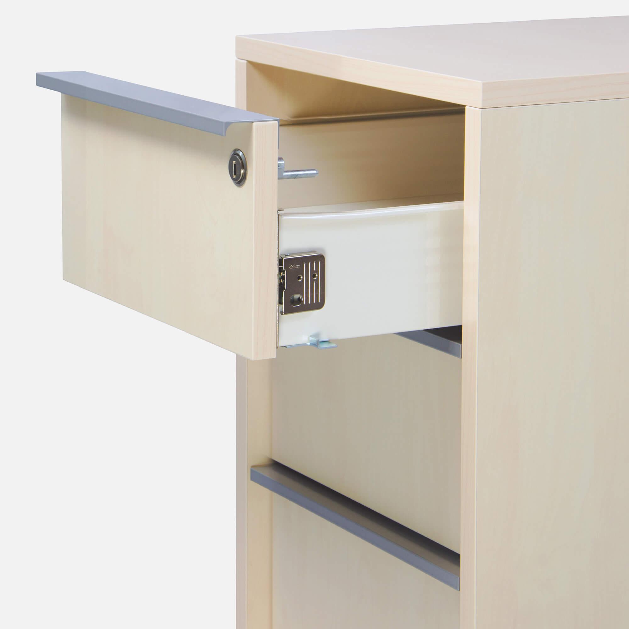 PROFI NOVA Rollcontainer 60cm tief extra schmal Ahorn Rollschrank Büro Container Schrank Bürocontainer