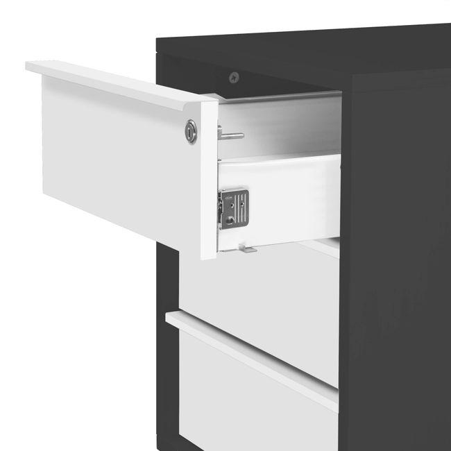 NOVA Rollcontainer | 3 Schubladen, 600 mm tief, extra schmal, Anthrazit / Weiß