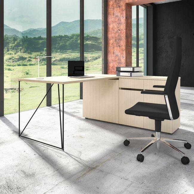 Schreibtisch AIR mit integriertem Sideboard rechts 1600 x 1600 mm Ahorn – Bild 1