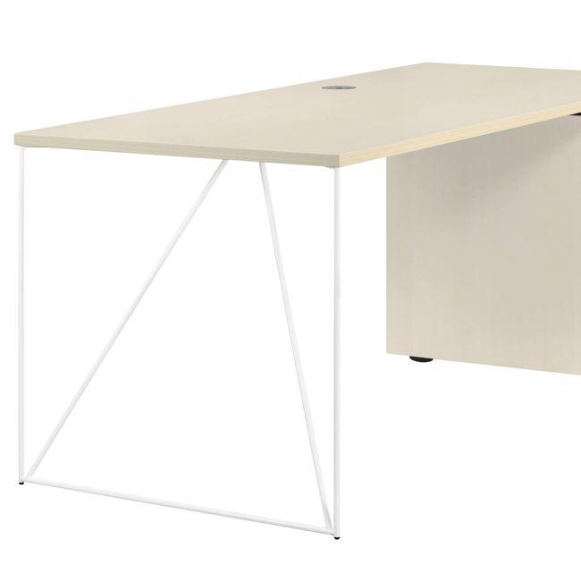 Schreibtisch AIR mit integriertem Sideboard rechts 1600 x 1600 mm Ahorn – Bild 4