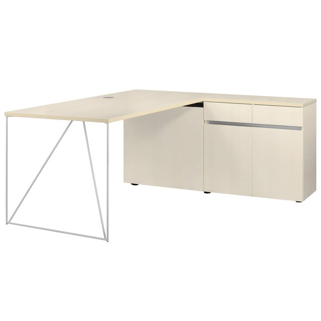 Schreibtisch AIR mit integriertem Sideboard rechts 1600 x 1600 mm Ahorn – Bild 15