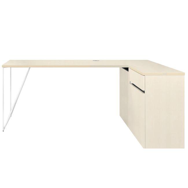 Schreibtisch AIR mit integriertem Sideboard rechts 1600 x 1600 mm Ahorn – Bild 6