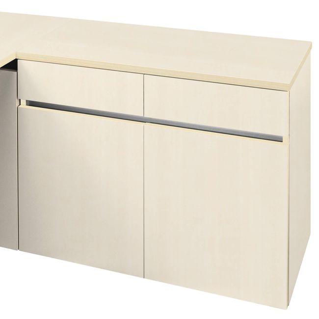 Schreibtisch AIR mit integriertem Sideboard rechts 1600 x 1600 mm Ahorn – Bild 8
