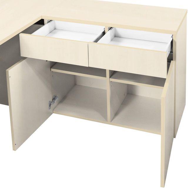 Schreibtisch AIR mit integriertem Sideboard rechts 1600 x 1600 mm Ahorn – Bild 10