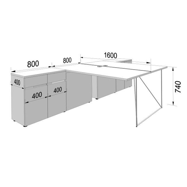 2er Team-Schreibtisch AIR mit integrierten Sideboards 1.600 x 3.200 mm Ahorn – Bild 4
