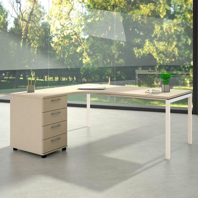 Winkelkombination links NOVA 1.800 x 1.630 mm Standcontainer Ahorn – Bild 1