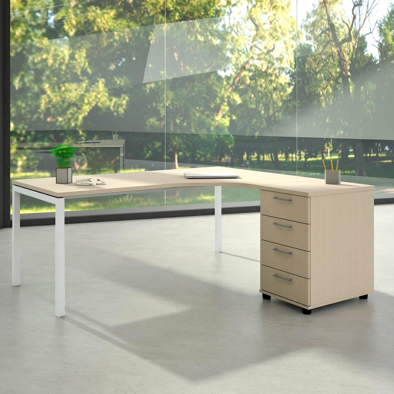 Winkelschreibtisch mit Standcontainer NOVA XL 180x163cm Ahorn Eck-Schreibtisch