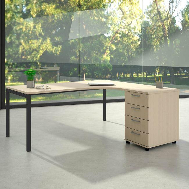 Winkelkombination rechts NOVA 1.800 x 1.630 mm Standcontainer Ahorn – Bild 2