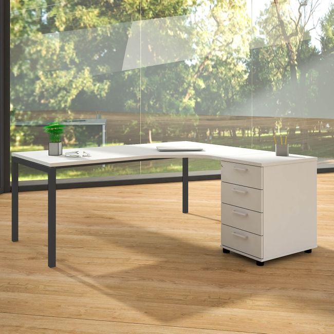 NOVA Winkelkombination | Mit Standcontainer, Winkel rechts, 1800 x 1630 mm, Weiß