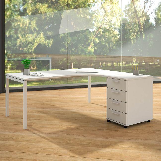 Winkelschreibtisch mit Standcontainer NOVA XL 180x163cm Weiß Eck-Schreibtisch
