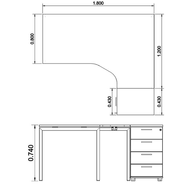 Winkelkombination rechts NOVA 1.800 x 1.630 mm Standcontainer Weiß – Bild 5