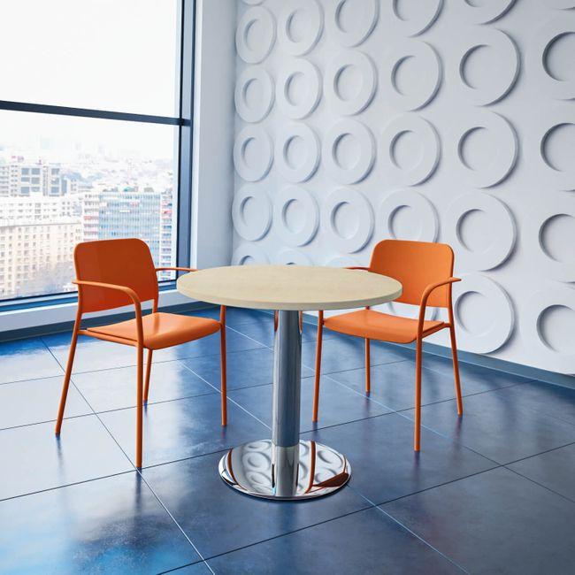 OPTIMA runder Besprechungstisch Ø 80 cm Ahorn Verchromtes Gestell Tisch Esstisch
