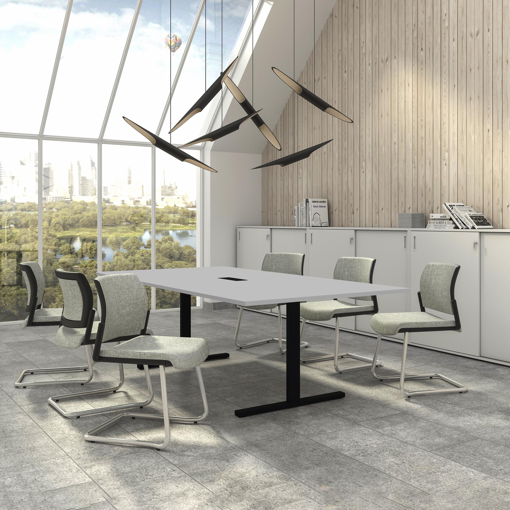 EASY Konferenztisch 240x120 cm Lichtgrau mit ELEKTRIFIZIERUNG Besprechungstisch Tisch