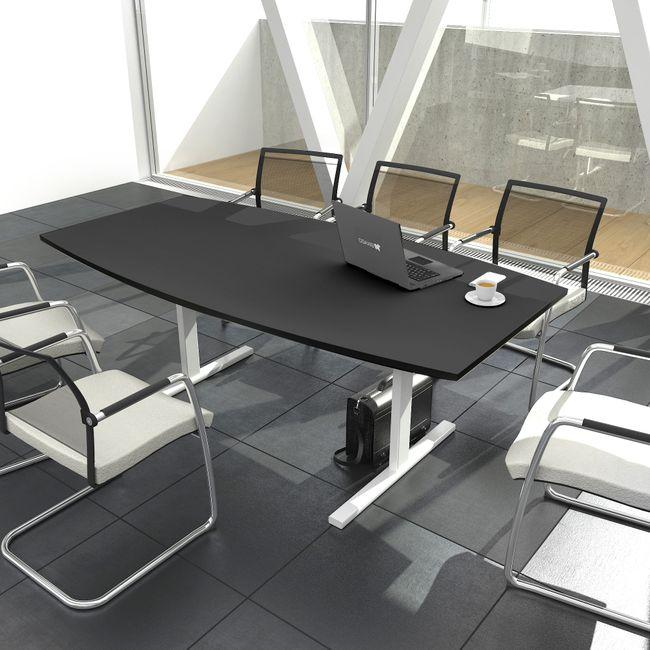 EASY Konferenztisch Bootsform 180x100 cm Anthrazit Besprechungstisch Tisch