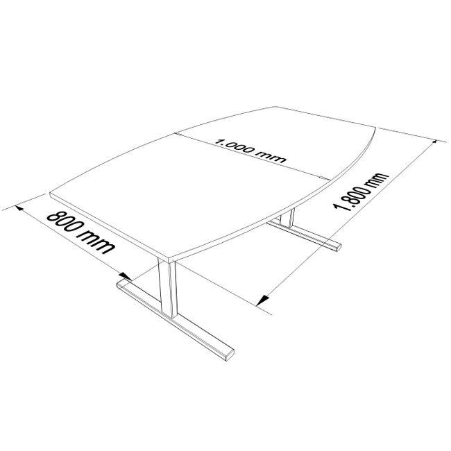 Konferenztisch Bootsform EASY 1.800 x 1.000 mm Anthrazit 6 - 8 Personen  – Bild 4
