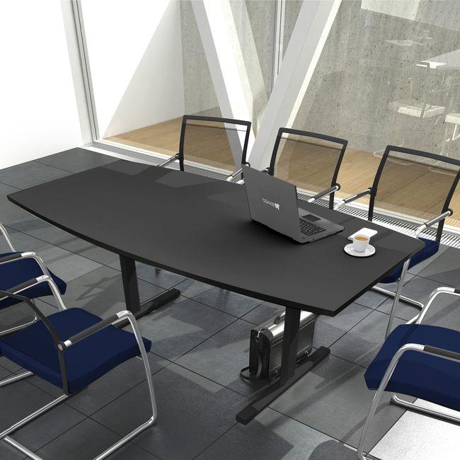 Konferenztisch Bootsform EASY 2.000 x 1.000 mm Anthrazit 6 - 8 Personen  – Bild 8