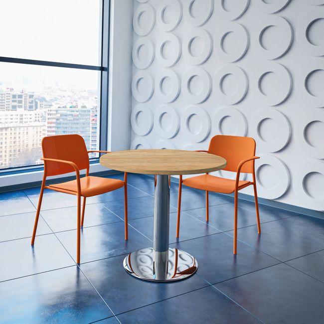 OPTIMA runder Besprechungstisch Ø 80 cm Bernstein-Eiche Verchromtes Gestell Tisch Esstisch