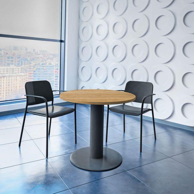 OPTIMA runder Besprechungstisch Ø 80 cm Bernstein-Eiche Anthrazites Gestell Tisch Esstisch