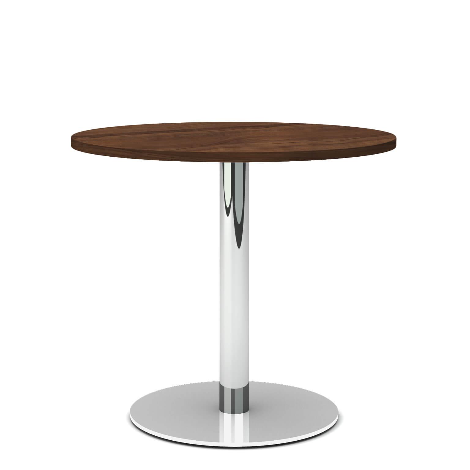 OPTIMA runder Besprechungstisch Ø 80 cm Nussbaum Verchromtes Gestell Tisch Esstisch