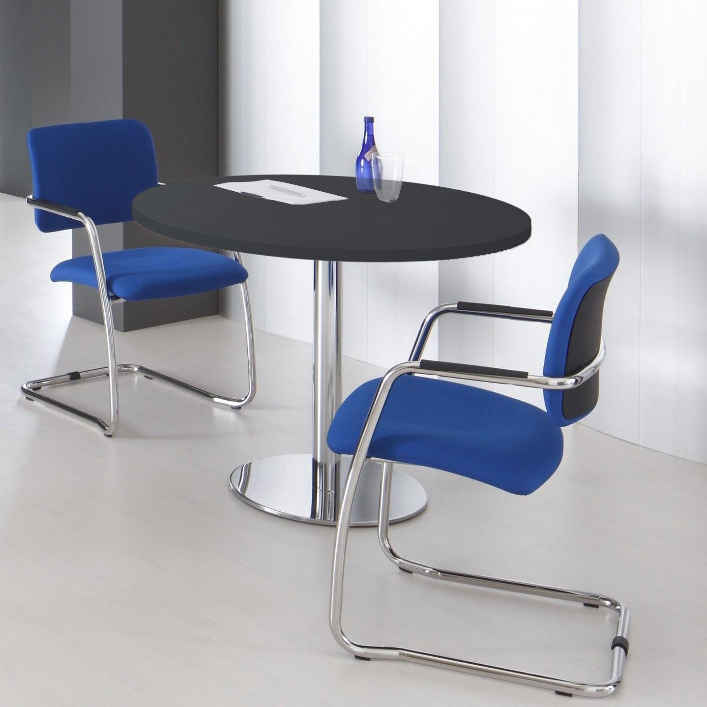 OPTIMA runder Besprechungstisch Ø 100 cm Anthrazit Verchromtes Gestell Tisch Esstisch